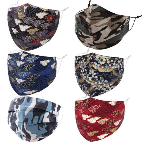 6Piece / 4Piece Pack Printed Design Adjustable Strap Cotton Face Mask