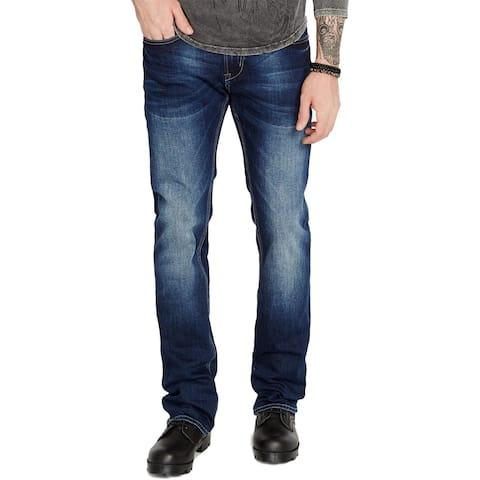 Buffalo David Bitton Mens King-X Slim Bootcut Jeans Denim Whisker Wash