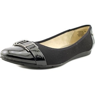 Anne Klein Sport Abandoned Women Round Toe Canvas Black Flats