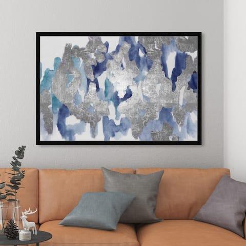 Oliver Gal 'Blue Palais' Abstract Framed Wall Art Prints Watercolor - Blue, Gray