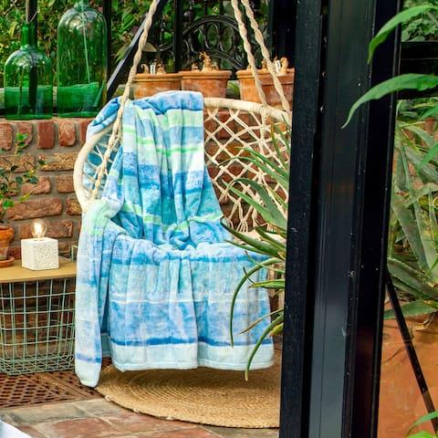 IBENA Turquoise Sea Breeze Blanket Throw Lusaka