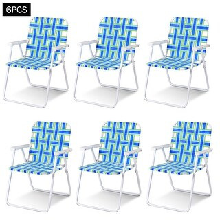 Costway 6pcs Folding Beach Chair Camping Lawn Webbing Chair Lightweight 1 Position Blue
