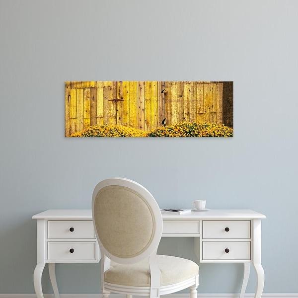 Easy Art Prints Panoramic Image 'California golden poppies, Wooden barn, Gaviota, Santa Barbara, California' Canvas Art