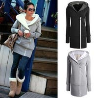 Womens autumn winter Long Zip Tops Hoodie Coat Jacket Outerwear women coat