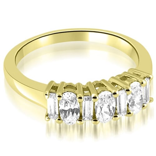 1.10 cttw. 14K Yellow Gold Oval and Baguette Cut Diamond Wedding Band