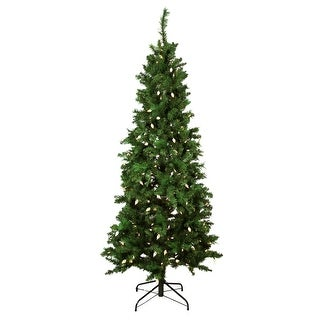 7' Pre-Lit Slim Mixed Long Needle Pine Artificial Christmas Tree - Multi-Color LED Lights - Green