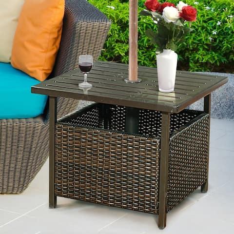 Costway Brown Rattan Wicker Steel Side Table Outdoor Furniture Deck