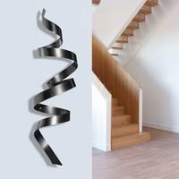 "Statements2000 Black 3D Metal Wall Art Accent Sculpture by Jon Allen - Titanium Wall Twist - 44"" x 10"""