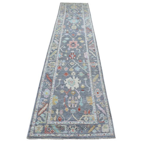 """Shahbanu Rugs Oushak with Colorful Motifs Extra Soft Wool Hand Knotted Gray Oriental XL Runner Rug (2'8"""" x 13'7"""") - 2'8"""" x 13'7"""""""