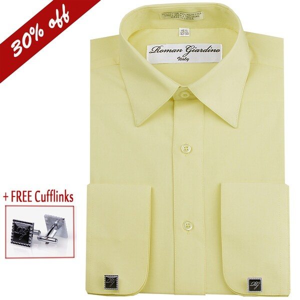1a4c2061b Roman Giardino Men  x27 s Dress Shirt Long Sleeve Convertible Cuffs the  Italian Collar