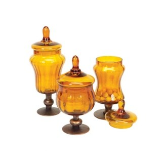 """Set of 9 Amber/Gold Glass Storage Canisters w/Lids & Metal Bases 9.5"""" - 12"""""""