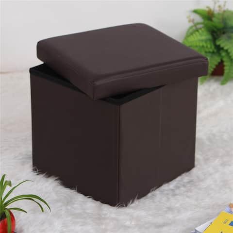 PVC Leather Lounge Square Shape Storage Ottoman Footstool Black/Brown