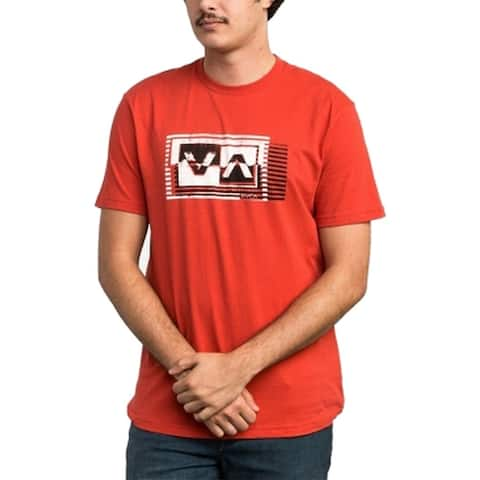 RVCA Men's T-Shirt Red Size Large L Crewnecl Logo-Printed Graphic Tee 045