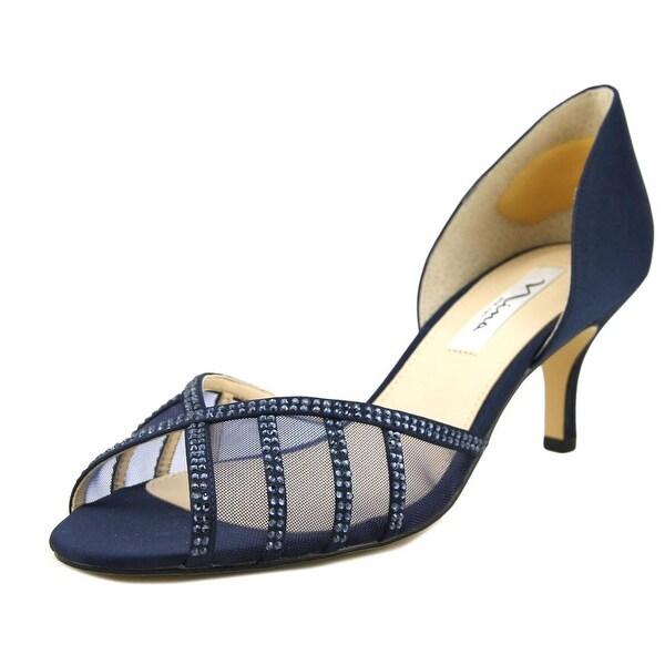 Nina Corita Women Open-Toe Canvas Blue Heels
