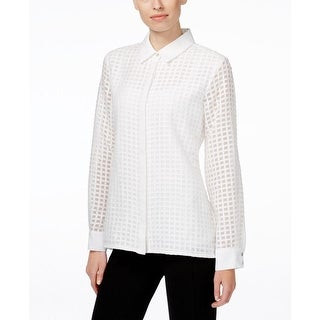 Calvin Klein Womens Blouse Textured Sheer print