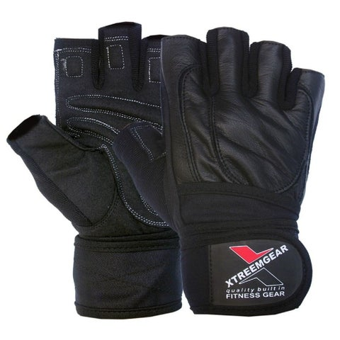 Weight Lifting Fitness Gym Gloves Gel Padded Cowhide Leather Long Strap BlackG-4 - Black
