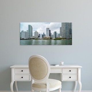 Easy Art Prints Panoramic Images's 'Skyscrapers at the waterfront, Brickell, Miami, Florida, USA' Premium Canvas Art