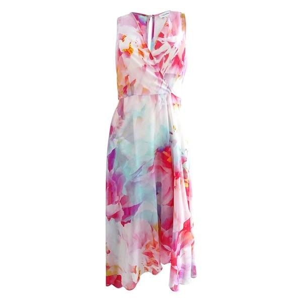 cce112afea4 Shop Calvin Klein Women s Printed Chiffon Faux-Wrap Dress (2