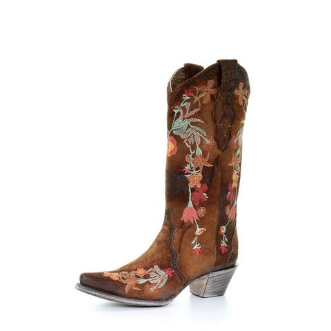 """Corral Western Boots Womens Lamb Leather Floral 13"""" Chocolate"""