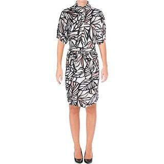 BOSS Hugo Boss Womens Holera Wear to Work Dress Linen Blend Printed