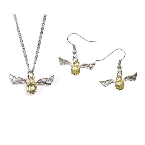 Harry Potter Golden Snitch Necklace and Earring Set