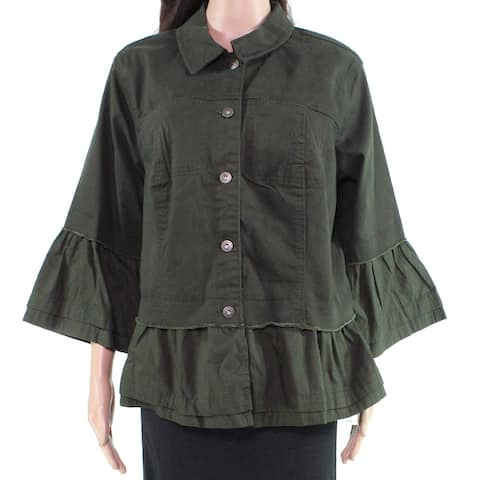 Style & Co. Womens Jacket Evening Olive Green Size 18W Plus Ruffle-Trim