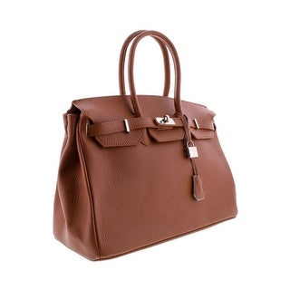 HS5009 T Davina Leather Tan Structured Top Handle Bag
