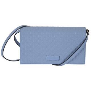 Gucci 466507 Blue Leather Micro Gg Guccissima Crossbody Wallet Bag Purse 8 X 4 5
