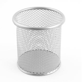 Metal Mesh Office Desk Pen Pencil Rule Holder Container Organizer Silver Tone