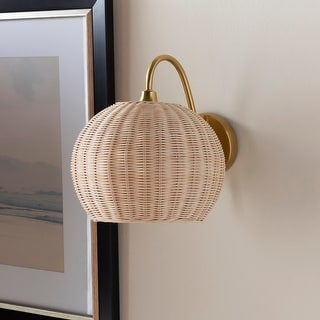 """Link to Meena Modern Rattan Wall Sconce - 11.5""""H x 10""""W x 14""""D Similar Items in Sconces"""
