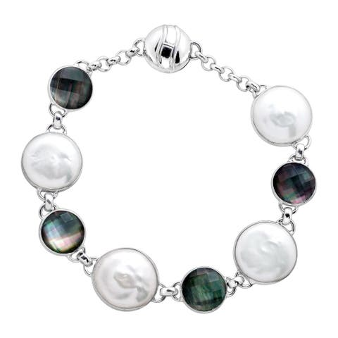 Honora Freshwater Coin Pearl & Black Mother-of-Pearl Doublet Bracelet in Sterling Silver