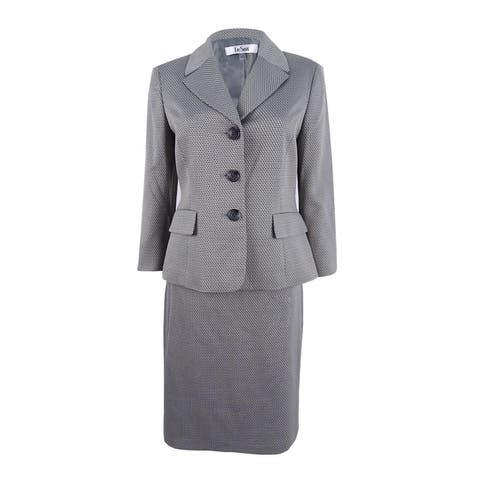 Le Suit Women's Three-Button Skirt Suit (4, Oyester) - Oyester - 4