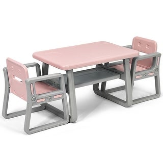Gymax Kids Table and 2 Chairs Set Toddler Table w/ Storage Shelf For Baby Gift Pink