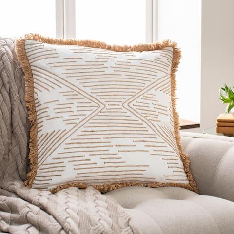 Jovan Embroidered Fringe Cotton Throw Pillow