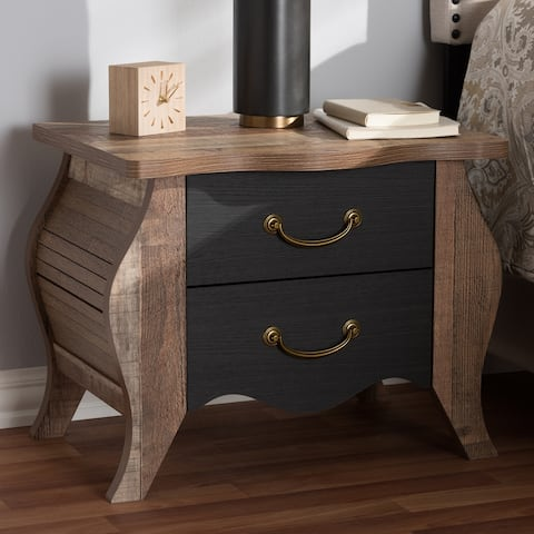 Romilly Country Cottage Farmhouse Black and Oak-Finished Wood 2-Drawer Nightstand