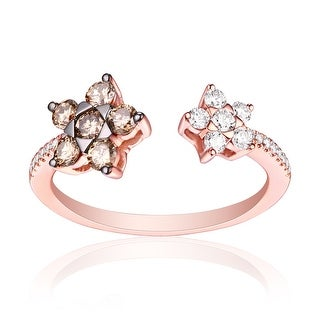 0.63ct Round Brilliant Cut G-H/SI1 Brown Color Diamond and Natural Diamond Cluster Ring - White G-H
