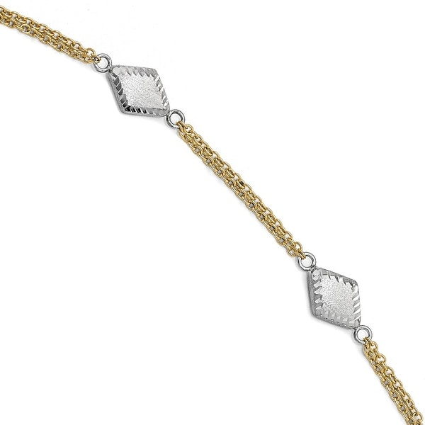 Italian 14k Two-Tone Gold Satin and Diamond Cut with .5in ext. Bracelet - 7.5 inches
