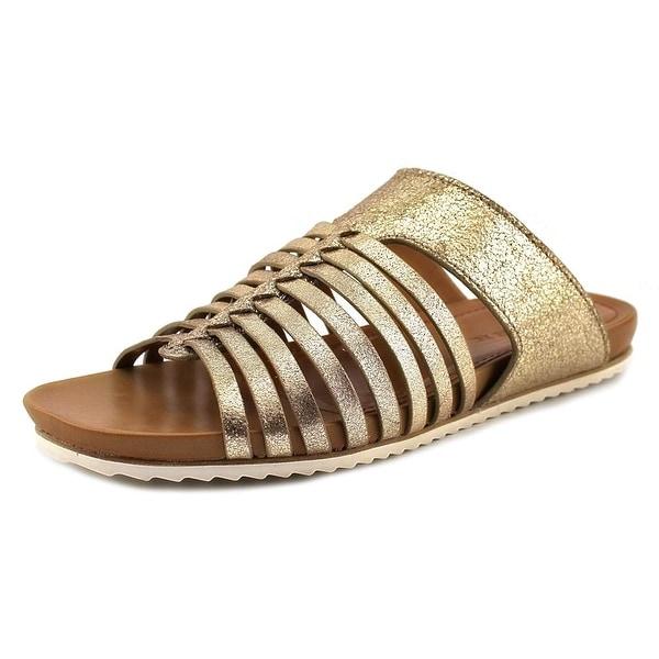H.S. Trask Sandra Women Open Toe Suede Gold Slides Sandal