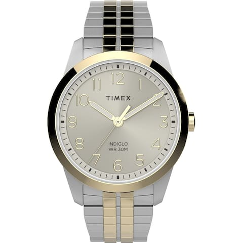Timex Men's South Street Sport 36mm Perfect Fit Watch - Two-Tone Case Champagne Dial with Two-Tone Expansion Band