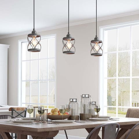 """Modern Rustic 1-light Metal Cage Mini Islands Pendant Lights for Dining Room - D5""""xH8"""""""