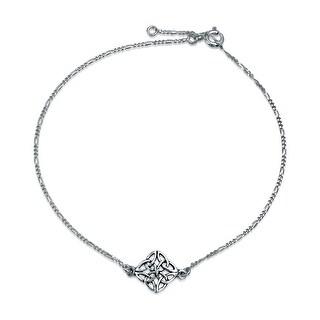 925 Sterling Silver Celtic Knotwork Anklet Bracelet 10 Inch