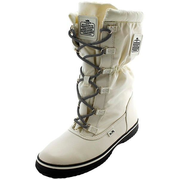Coach Sage Women Round Toe Leather White Winter Boot