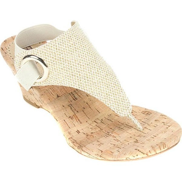 4ca6895d02f White Mountain Women  x27 s Aida Thong Wedge Sandal Gold Glitter Synthetic