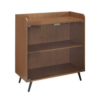 """Offex 38""""H Glass Door Bar Cabinet with Metal Legs - Acorn - N/A"""