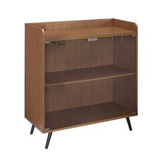 """Offex 38""""H Glass Door Bar Cabinet with Metal Legs - Acorn"""