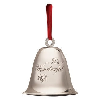 """Bevin Bells """"It's a Wonderful Life"""" Engraved Silver Plated Keepsake Bell - Includes Ribbon, Velvet Pouch and Story Card"""