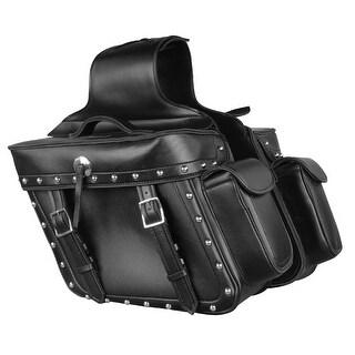 Weather Resistant Leather Look Motorcycle Saddle Bag Set 14X12X6X21
