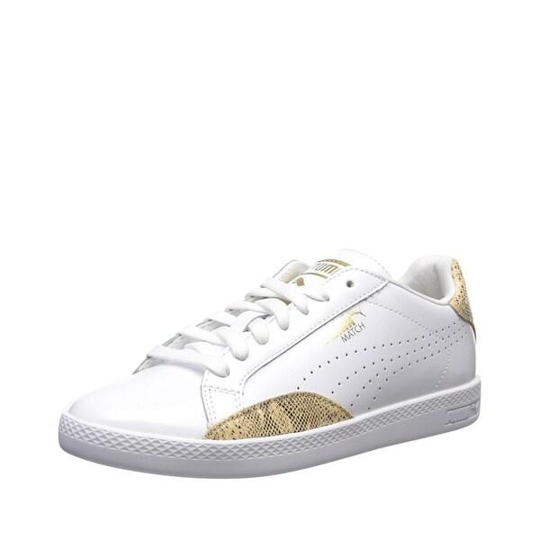 Puma Womens Match Lo PNT Sneakers Shoes Puma White/Gold - 6.5 b(m)