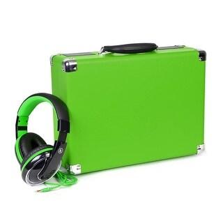Innovative Technology 3-Speed Vintage Suitcase Turntable w/Bonus Headphones-Lime Green (Refurbished)
