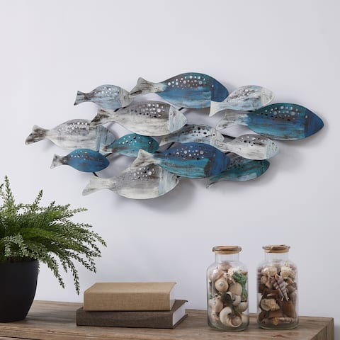 Danya B. School of Fish Modern Coastal Metal Wall Art